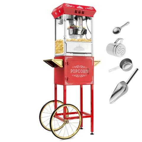Vintage Style Popcorn Machine Maker Popper w/ Cart and 8-Ounce Kettle