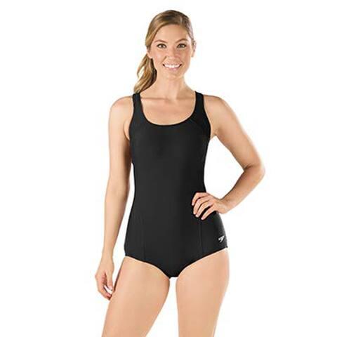 Speedo Conservative Ultraback One Piece Bust Support Swimsuit, Black, 8
