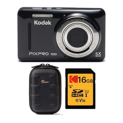 Kodak PIXPRO Friendly Zoom FZ53 Digital Camera (Black) w/ Case Bundle