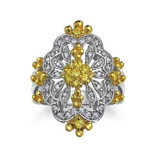 Bling Jewelry Antique Style Yellow CZ Cocktail Ring Rhodium Plated