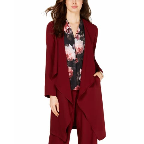 Nine West Womens Cardigan Maroon Red Size Medium M Open Front Draped