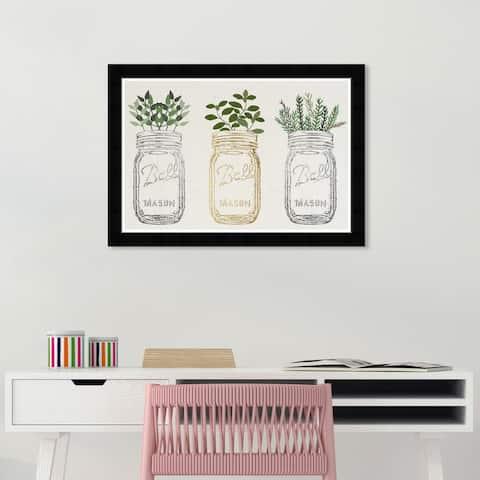 Wynwood Studio 'Mason Jars and Plants Metallic' Food and Cuisine Wall Art Framed Print Kitchen - White, Gold