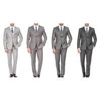 Porto Filo Men's 3 Piece Slim Fit Suit (Grey, Ash, Charcoal, Silver)