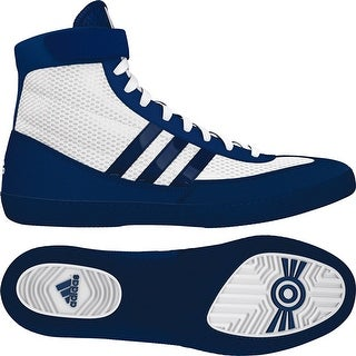 Adidas Combat Speed 4 Wrestling Shoes - White/Navy