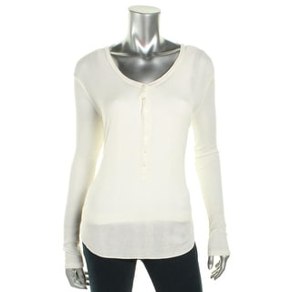 Denim & Supply Ralph Lauren Womens Henley Top Modal Ribbed Knit - l