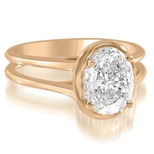 0.75 cttw. 14K Rose Gold Split Shank Halo Oval Cut Diamond Engagement Ring