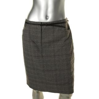 Calvin Klein Womens Petites Glen Plaid Textured Pencil Skirt