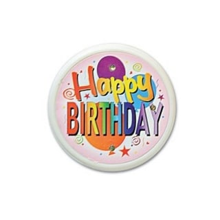 """Pack of 6 """"Happy Birthday"""" Flashing Costume Celebration Buttons 2.5"""""""