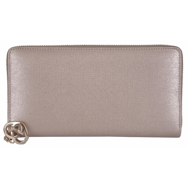 "Gucci Women's 308005 Taupe GG Charm Shine Lovely Zip Around Clutch Wallet - 7.5"" x 4"""