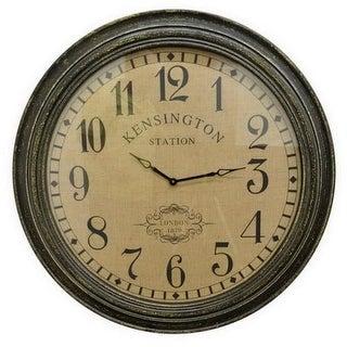 Three Hands 62419 37-3/4 Inch Diameter Wood Hanging Wall Clock