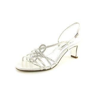 Nina Garland Women Open Toe Canvas Silver Sandals