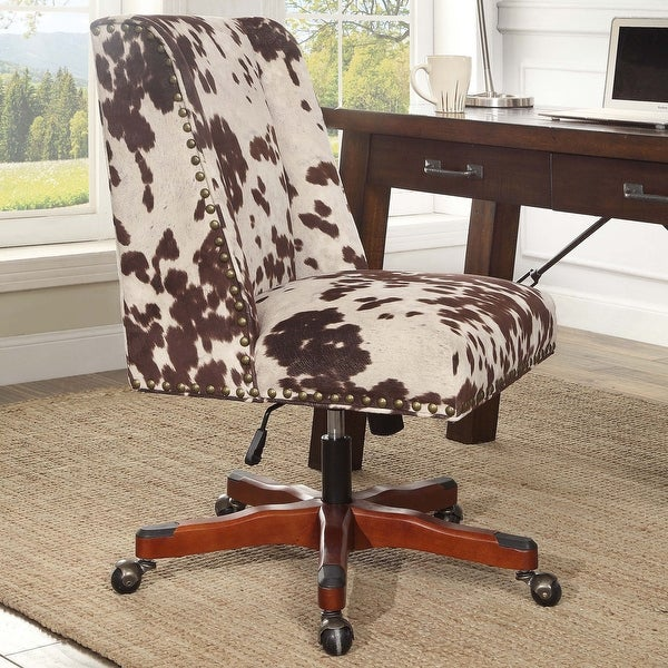 Linon Violet Office Plush Brown Chair