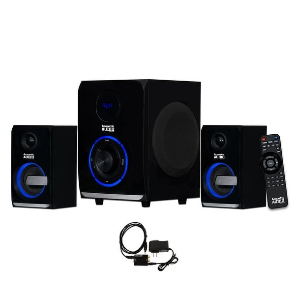 Acoustic Audio AA2105 Bluetooth 2.1 Speaker System LED Lights and Optical Input