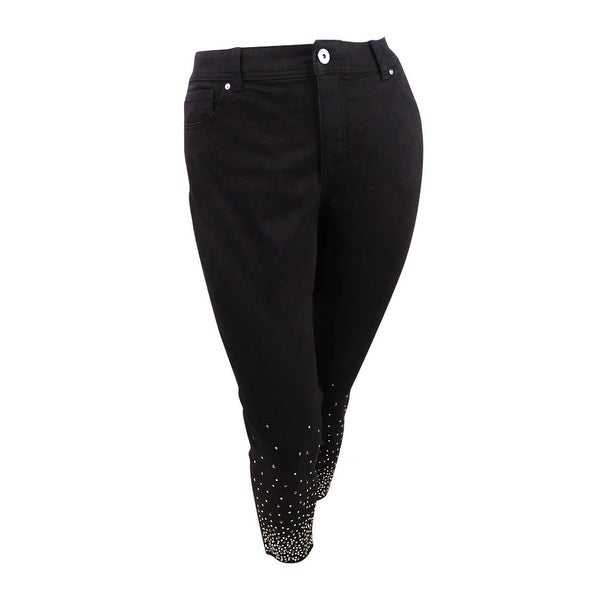 INC International Concepts Women's Plus Size Embellished Ankle Skinny Jeans. Opens flyout.
