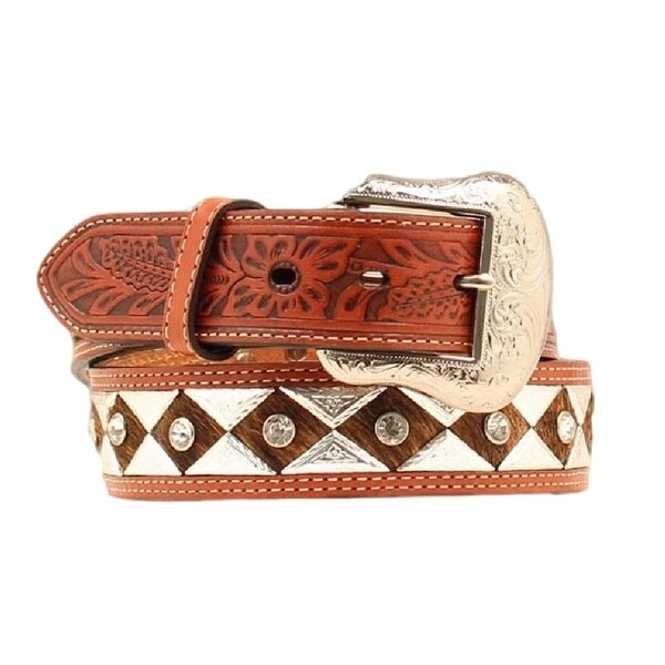 Nocona Western Belt Mens Leather Hair Diamond Brown