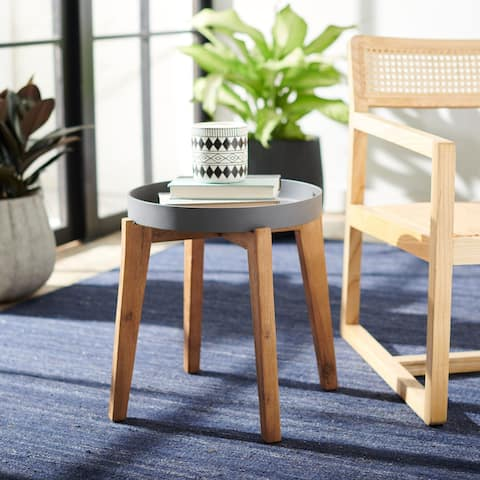 """Safavieh Outdoor Menria Removable Tray Top Side Table - 20"""" W x 20"""" L x 17.7"""" H - 20"""" W x 20"""" L x 17.7"""" H"""