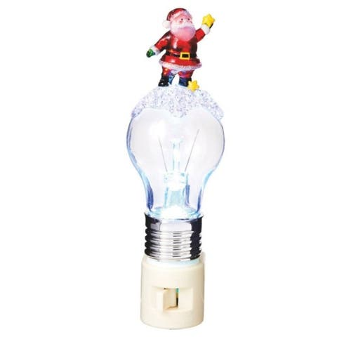 "6.5"" Red Santa Claus and Stars on an LED Bulb Decorative Christmas Night Light"