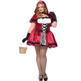 Plus Size Glamorous Red Riding Hood Costume - Red/White