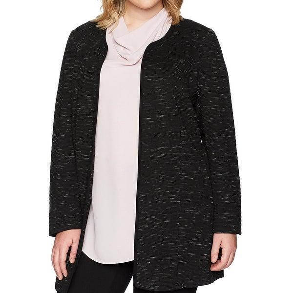 Nine West Black White Womens Size 18W Plus Open Front Jacquard Jacket