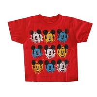 Disney Little Boys Red Mickey Mouse Face Print Short Sleeved T-Shirt