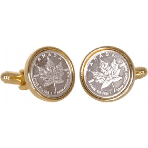 8a2559074 Shop Canadian Maple Leaf Silver Bullion Cufflinks Coin Collector Memorbilla  - On Sale - Free Shipping Today - Overstock - 12220880