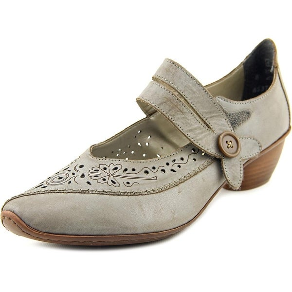 Rieker Mirjam 38 Women Round Toe Leather Gray Mary Janes