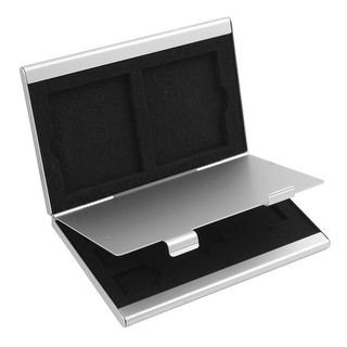 Aluminum Alloy 7 Slots SIM Card Storage Container Silver Tone for CF TF SD Card