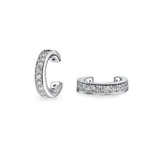 Bling Jewelry Sterling Silver Petite Modern CZ Ear Cuffs Rhodium Plated