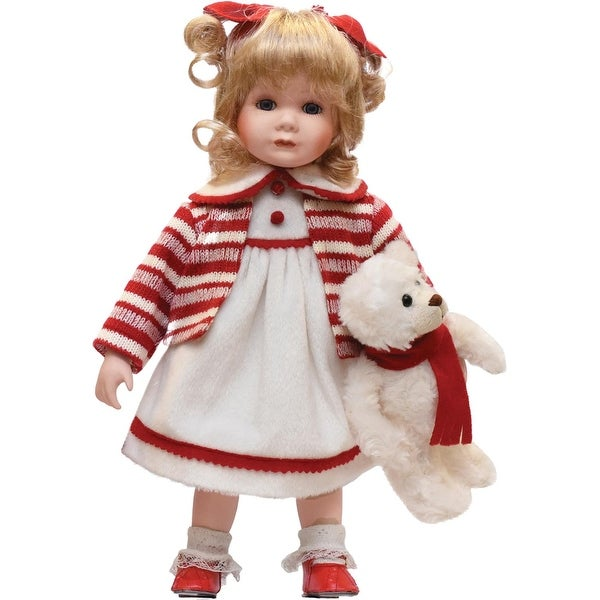 """14"""" Porcelain """"Amanda"""" with Teddy Bear Standing Collectible Christmas Doll - WHITE"""