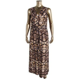 Anna Scholz Womens Plus Printed Knot Front Maxi Dress - 14W