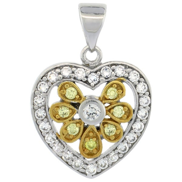 61e3210f3b3e2 Sterling Silver Floral Heart Shape Micro Pave CZ Pendant Yellow Gold  Accents, 11/16 inch long