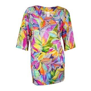 Anne Cole Women's Printed Leaf Mesh V-Neck Tunic Cover (18W/20W, Multi) - 18w/20w