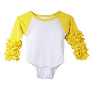 Baby Girls Yellow White Ruffle Cuff Crew Neck Long Sleeve Bodysuit