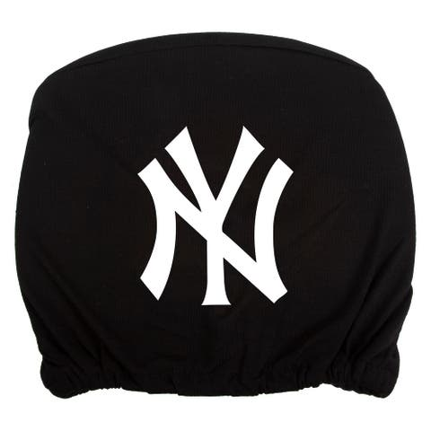 Embroidered Sports Logo 2 Pack Headrest Cover MLB, New York Yankees - Black - One Size
