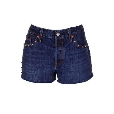 Levis Original Indigo Studded Cotton Denim Shorts 28