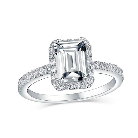 2 CT Emerald Cut Thin Band Halo CZ 925 Sterling Silver Engagement Ring