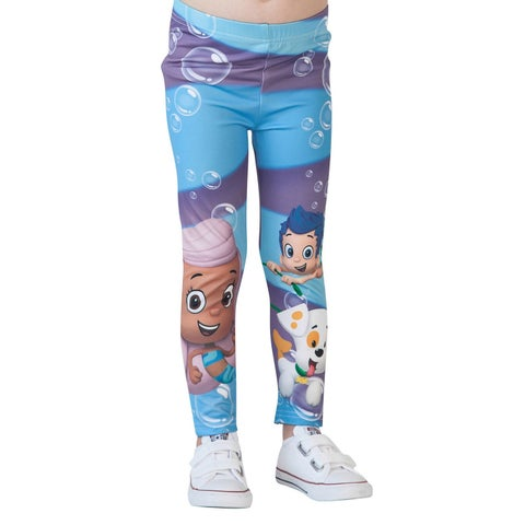 Nickelodeon Little Girls Blue Bubble Guppies Printed Stretchy Leggings