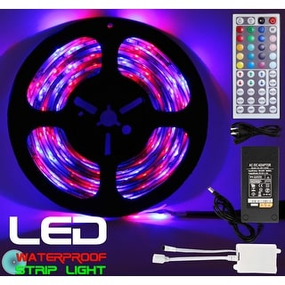 Techno Earth 16.4 Feet 5M 5 Meter SMD RGB 5050 Waterproof IP65 LED Strip light 300 + 44 Key Remote + 12V Supply Power