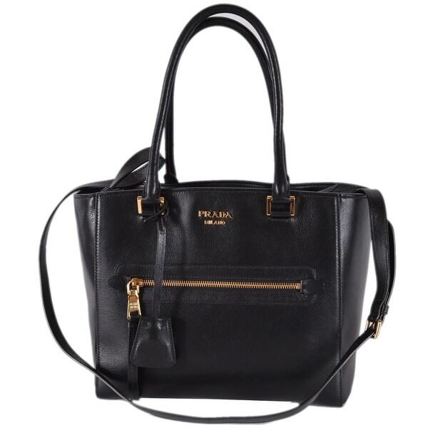 91872f53e31d Prada 1BG227 Black Glace Leather Medium Convertible Purse Handbag Tote