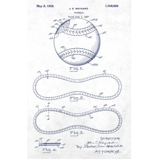 Baseball Patent Poster (Blue on White) - Sports Patents - 24x16 Poster