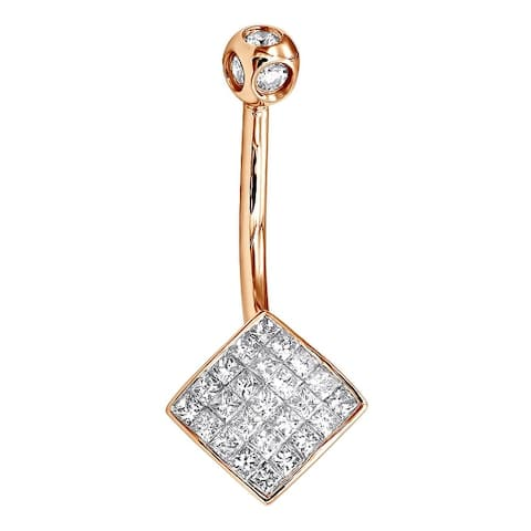 Ladies Princess Cut Diamond Belly Button 0.69ctw in 14k Gold by Luxurman