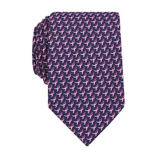 Susan G Komen Ribbon Logo Print Classic Tie Pink and Navy Blue - One Size Fits most