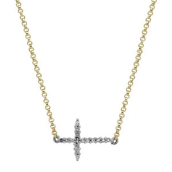 Sideways Cross Necklace with Diamonds in 14K Two-Tone Gold