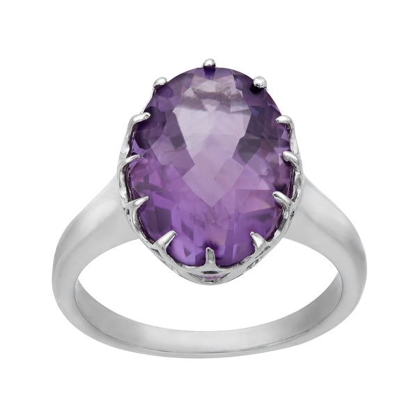 4 1/2 ct Amethyst Ring in Sterling Silver - Purple