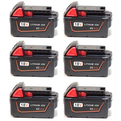 Replacement Battery For Milwaukee M18 Power Tools - 48-11-1840 (4000mAh, 18V, Li-Ion) - 6 Pack