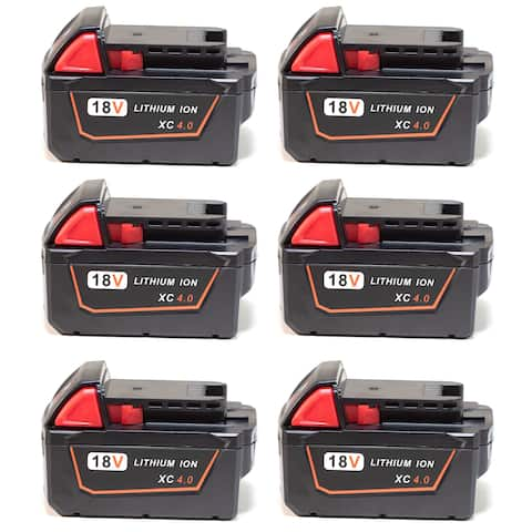 Replacement For Milwaukee 48-11-1840 Power Tool Battery (4000mAh, 18V, Li-Ion) - 6 Pack