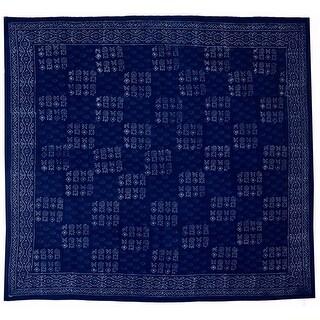 Handmade 100% Cotton Hand Block Print Dabu Tablecloth 72 Inch x 72 Inch Square Indigo Blue