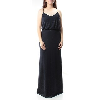 Womens Navy Speckle Spaghetti Strap Maxi Blouson Formal Dress Size: 1