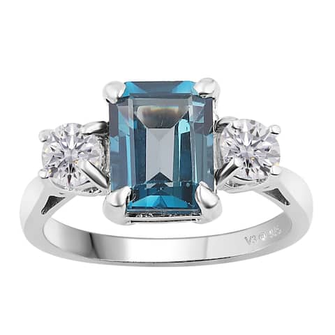 Sterling Silver with London Blue Topaz and Moissanite Three Stone Ring