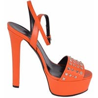 Gucci Women's Orange Leather Studded Leila Platform Sandals Shoes 37 7